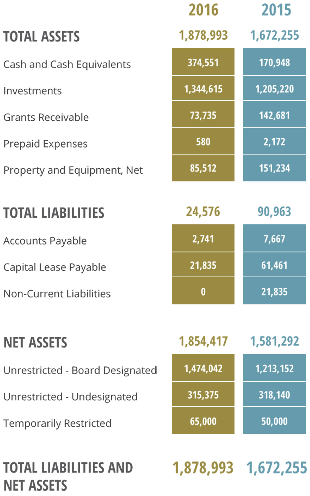 Illustrated table chart of Ladder Up's financials